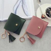 Women Simple Fashion Tassel Short Wallet Coin Purse Card Holders Handbag