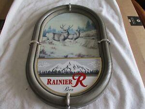 Large 1988 RAINIER BEER Plastic Beer Sign Deer Wildlife Scene