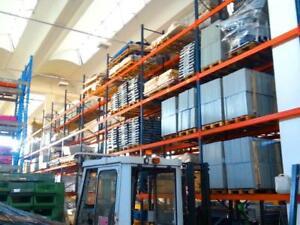 4 x 11,3 m Palettenregal, 6 m hoch, Schwerlastregal, 20 Rahmen, 128 Traversen 2t