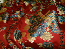 Antique French Floral Roses Silk Brocade Jacquard Fabric ~ Rich Red Blue Gold