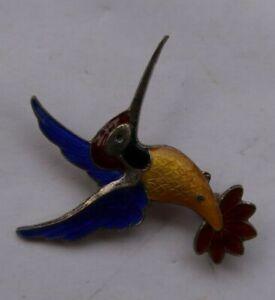 "Vintage 1.5"" VB Sterling Silver Germany Brooch Pin Jewelry Humming Bird Enamel"