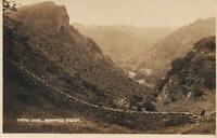 1921 VINTAGE REAL PHOTO THORS CAVE, MANIFOLD VALLEY POSTCARD - sent to Wimbledon