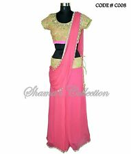 Bollywood Designer Indian Pakistani Stitched Saree-Neon green pink belt saree
