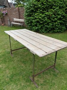 Vintage Trestle Table~Wrought Iron Ends~Old Stripped Pine~Rustic~Kitchen~Desk
