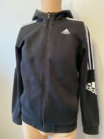 Adidas Track Tracksuit Top Size S Small Ladies Womens Jacket Fleece Black 10 12
