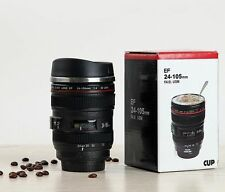 Canon Caniam EF 24-105mm Camera Lens Thermos Stainless Steel Tea Mug Cup Black