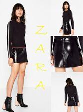 ZARA Patent Finish Mini Skirt Back Zip New (R$39.90) Low Rise Black Skirt Size M