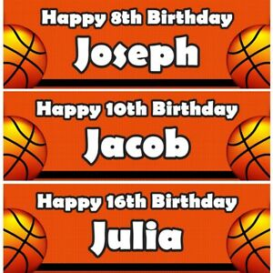 2 Personalised Basketball Lovers Birthday Party Celebration Banners Posters