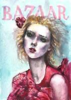 ACEO fashion woman magazine Bazaar cover face original painting watercolor card