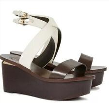 Tory Bruch Mino Wedge Platform Sandals Brown And White Strappy Platforms US Sz 8