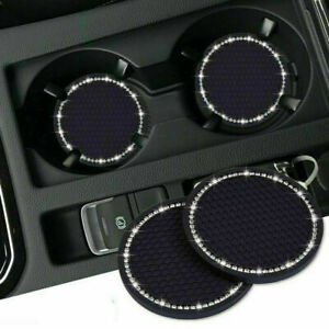 Car Accessories For Women Black Bling Rhinestone Cup Holder Insert Coaster 2PCS
