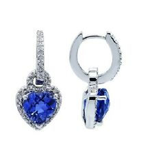 10K WHITE GOLD PAVE DIAMOND CREATED BLUE SAPPHIRE HEART DANGLE DANGLING EARRINGS