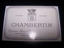 etiquette vin ancienne Chambertin Cosmann Frères et cie wine label bourgogne