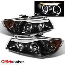 2006 2007 2008 BMW E90 3-Series 4Dr Sedan Black Halo LED Projector Headlights
