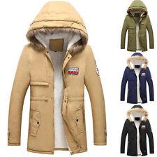Mens Winter Parka Parker Jacket Faux Fur Hood Warm Padded Coat Casual Outwear UK