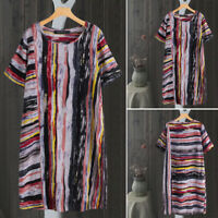 ZANZEA Womens Summer Round Neck Striped Casual Loose Tunic Shirt Dress Plus Size