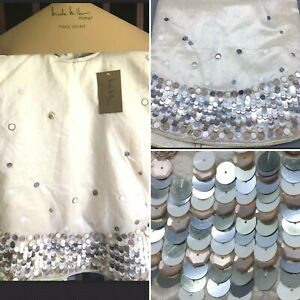 "Nicole Miller Sequins Gold 52"" Christmas Tree Skirt Champagne Silver Designer"