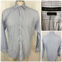 JOHN VARVATOS Men L/S Button Plaid Checker Slim Fit Dress Shirt Sz 15-1/2, 32/33