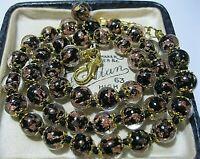 "Black Venetian Murano Glass Gold Foil Bead Vintage Style 18"" Long NECKLACE"