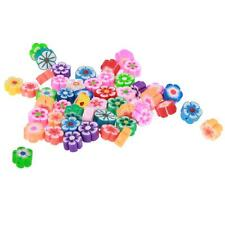 50pcs Assorted Flower Shape Polymer Clay Bead Charm for Jewelry Making Craft