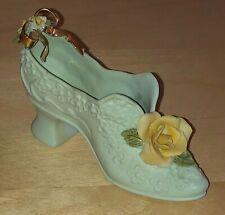 1954 Artist Signed Handmade Ceramic Shoe Figurine Green High Heel With Flowers