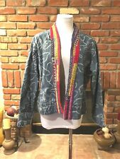 Designer CHICO'S sz 2 BoHo CHIC Embroidered Patch Denim Layering Jean Jacket