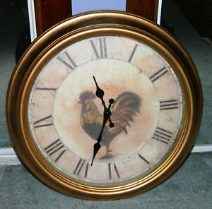 "VINTAGE Style Rooster Wall Clock  15"" Gold Colored Rim Rustic"