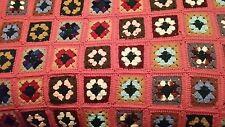 "Vintage Handmade Granny Square Crochet Afghan Blanket Throw Quilt  38"" x 42"""