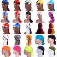 Men's Silk Durags Bandana Turban Hat Doo Durag Headwear Headband Pirate Cap Lot