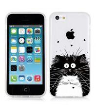 Coque Iphone 5C Chat coeur love noir blanc moustache transparent