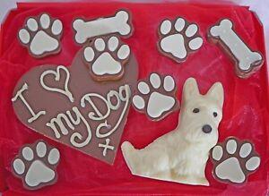 Hand-made Belgian Chocolate Westie Dog Hamper, may be personalised