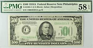 1934 $500 Bill Federal Reserve Note Philadelphia PMG AU 58 EPQ Fr2202-C