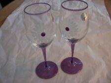 Beautiful Franco Vetrerie-e Cristallerie Jewel Flower Wine Glasses Purple