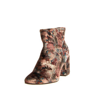 PRIMA EDIZIONE Velour Ankle Boots EU 38 UK 5 US 8 Floral Coated Made in Italy