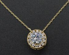PM20 Created Diamond Halo Solitaire Round Cut Pendent 0.80ct 14k Yellow Gold