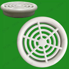 2x White Roof Soffit Round Air Vents Eaves 48mm Grille 44mm Hole Ventilation
