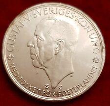 More details for excellent sweden 1935 5 kronor superb uncirculated light toning rare thus med75