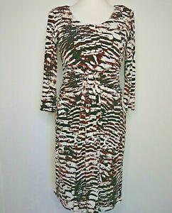 Linea Brown Cream Animal Print Dress Size 14 Ruched Pleats Flattering BNWT