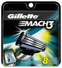 GILLETTE MACH 3 RAZOR BLADES 8 - 100% GENUINE UK STOCK ** FREE POSTAGE **