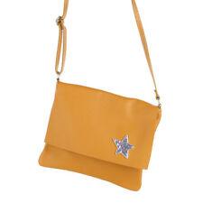 Cross Messenger Body Bag Umhänge Schulter Tasche Leder Gelb Stern Brosche