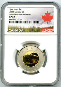 2021 CANADA $2 NGC SP69 FIRST RELEASES SPECIMEN TWO DOLLAR TOONIE RARE