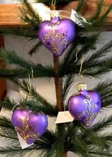 Set of 3 Beaded Flower Purple Heart Blown Glass Valentine Tree Ornaments Poland