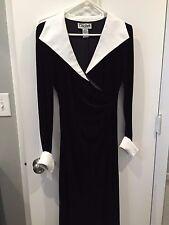 CACHET - LONG DRESS - GOWN  - BLACK VELVET - WHITE COLLAR CUFFS - PROM - SIZE 4