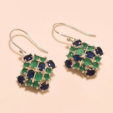 Sterling Silver Emerald, Sapphire Earring Fine Ladies Cocktail Wedding Jewelry