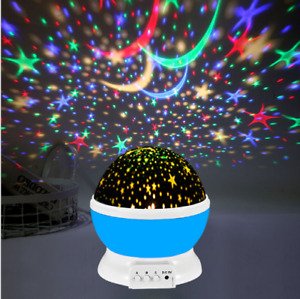 New LED Night Star Sky Projector Light Lamp Rotating Starry Baby Kids Room AU