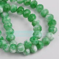 50pcs 8mm Rondelle Faceted Crystal Glass Charms Loose Spacer Beads DIY Findings