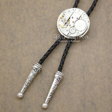 Men Silver Watch Clock Movement Steampunk Western Necklace Bolo Bola Neck Tie