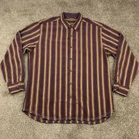 Tommy Bahama Button Down Long Sleeve Men's Shirt XXL 2XL Striped Silk Wool
