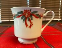 POINSETTIA &  RIBBONS TEA COFFEE CUP China with Gold Trim 4 available Tienshan