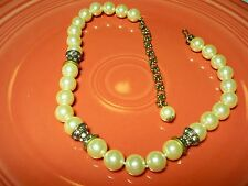Choaker with Large Off White Pearls and Rhinestone Spacers